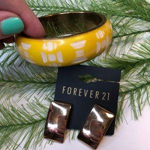 🍭 NWT! Forever 21 earrings and bangle bracelet